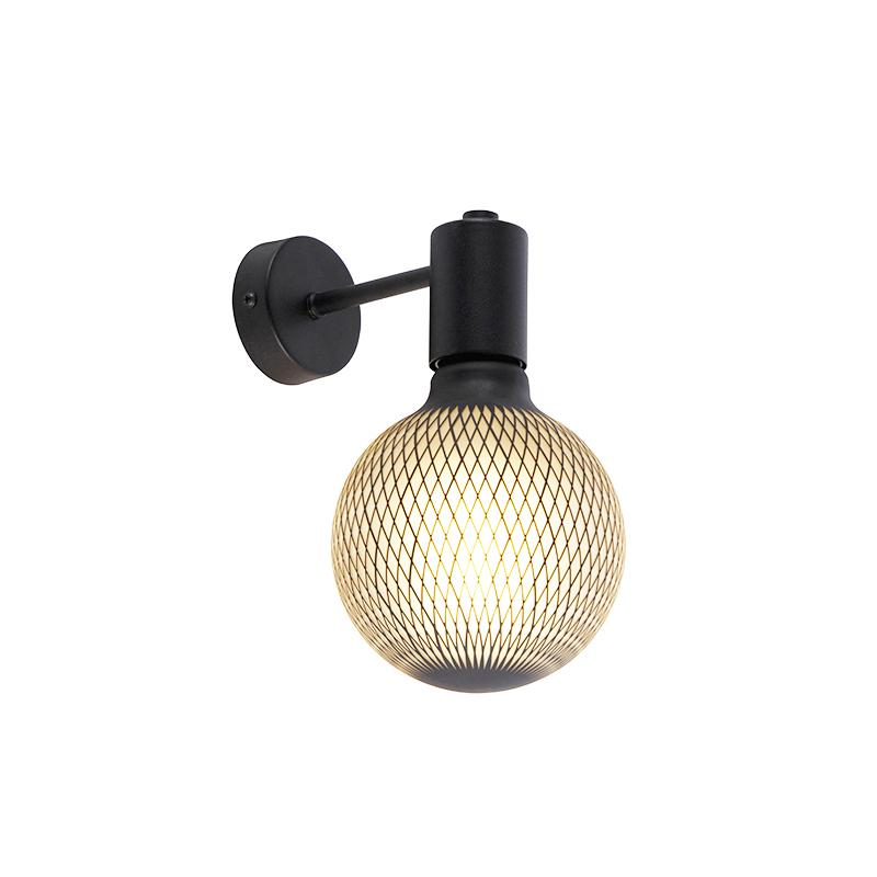 Industriële wandlamp zwart incl. G125 DECO 180lm - Facil 1