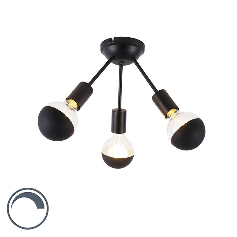 Plafondlamp zwart 3-lichts incl. G95 kopspiegel - Sputnik