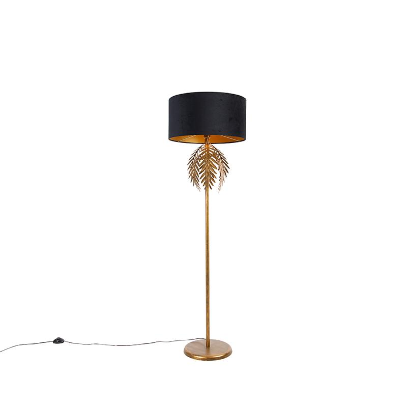 Vintage vloerlamp goud met zwarte velours kap 50 cm - Botanica
