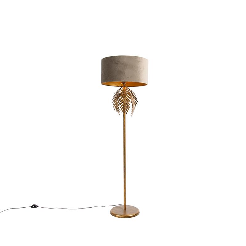 Vintage vloerlamp goud met velours kap taupe 50 cm - Botanica