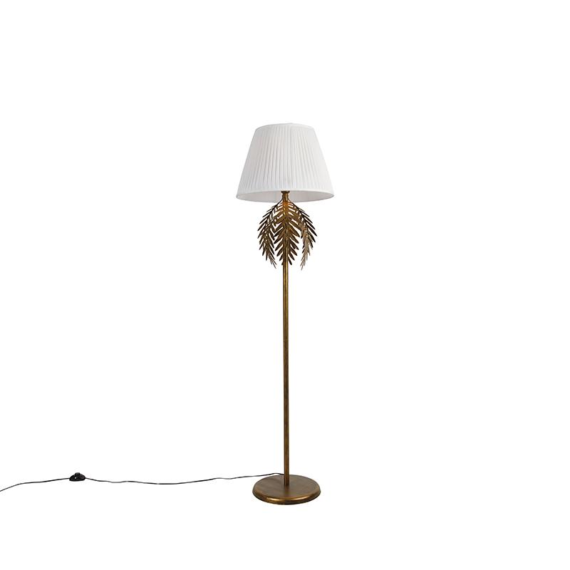 Vintage vloerlamp goud met plisse kap wit 45 cm - Botanica