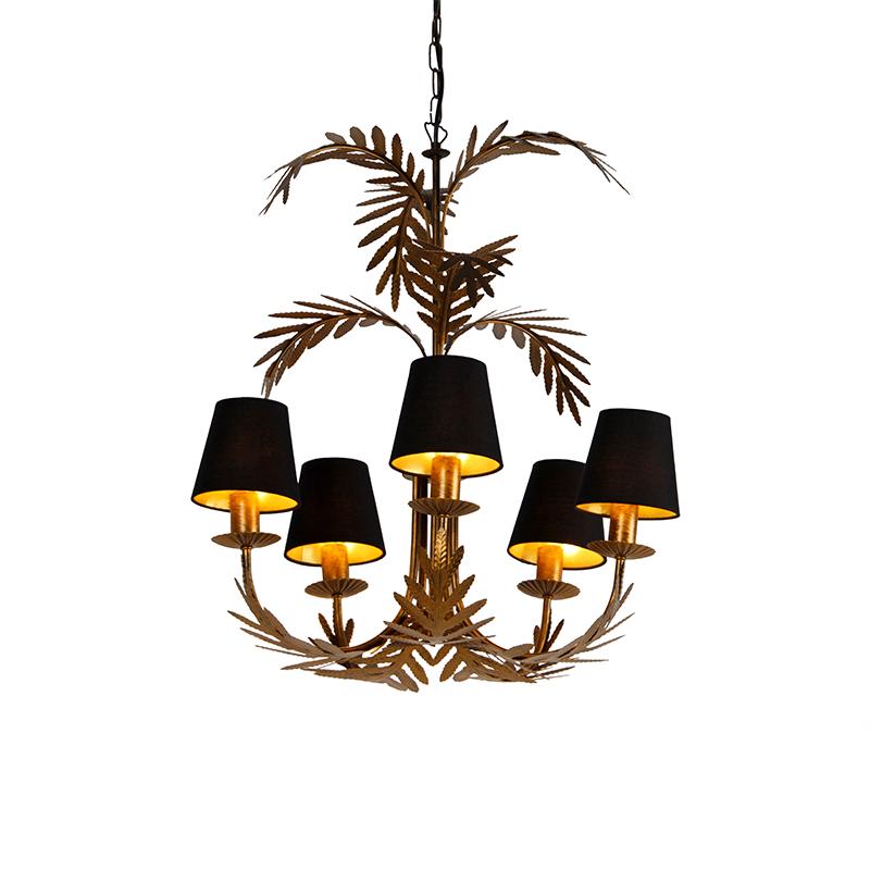 Kroonluchter goud met zwarte kappen 5-lichts - Botanica