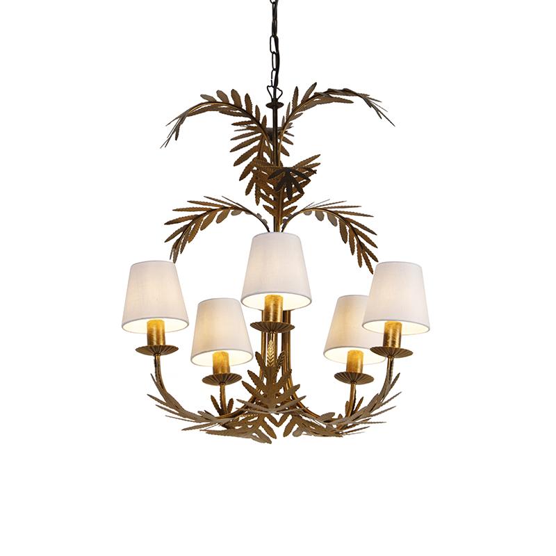 Kroonluchter goud met witte kappen 5-lichts - Botanica
