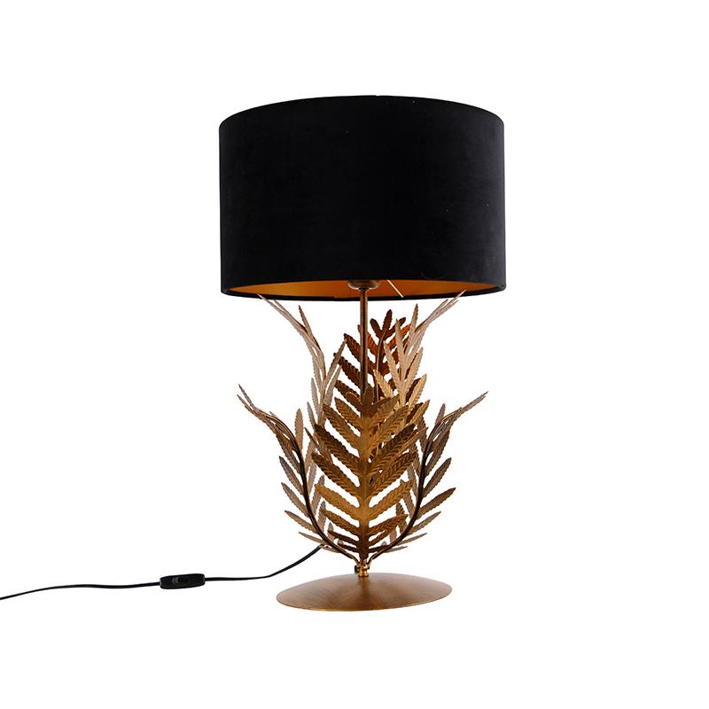 Vintage tafellamp goud met velours kap zwart 35 cm - Botanica