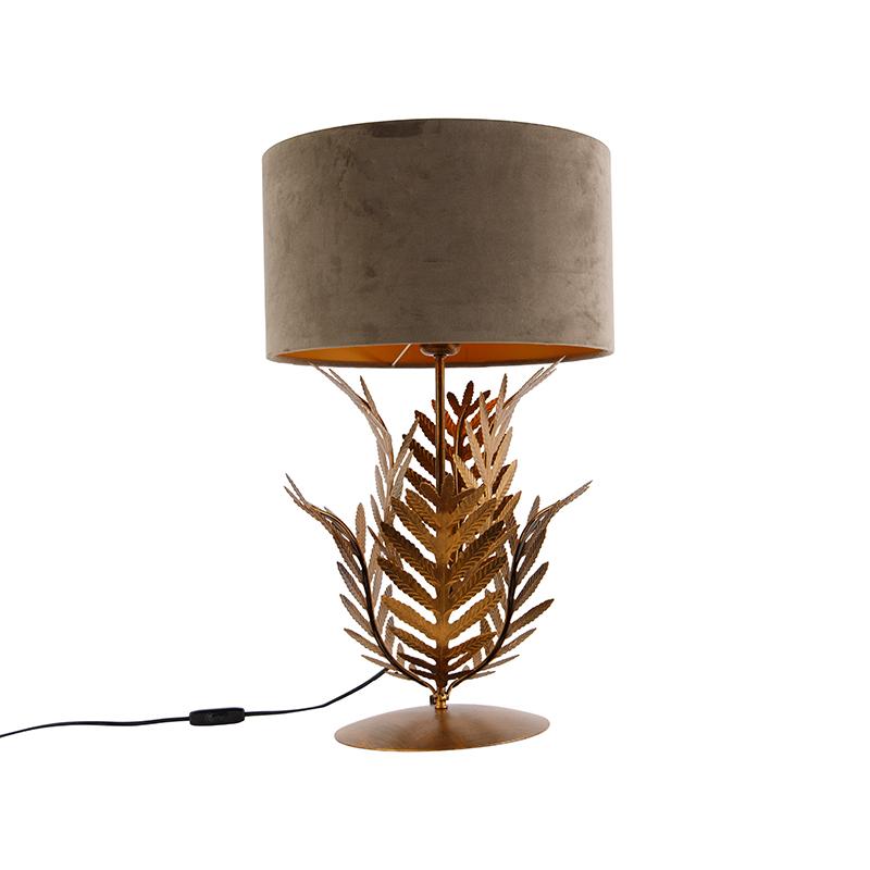 Vintage tafellamp goud met velours kap taupe 35 cm - Botanica