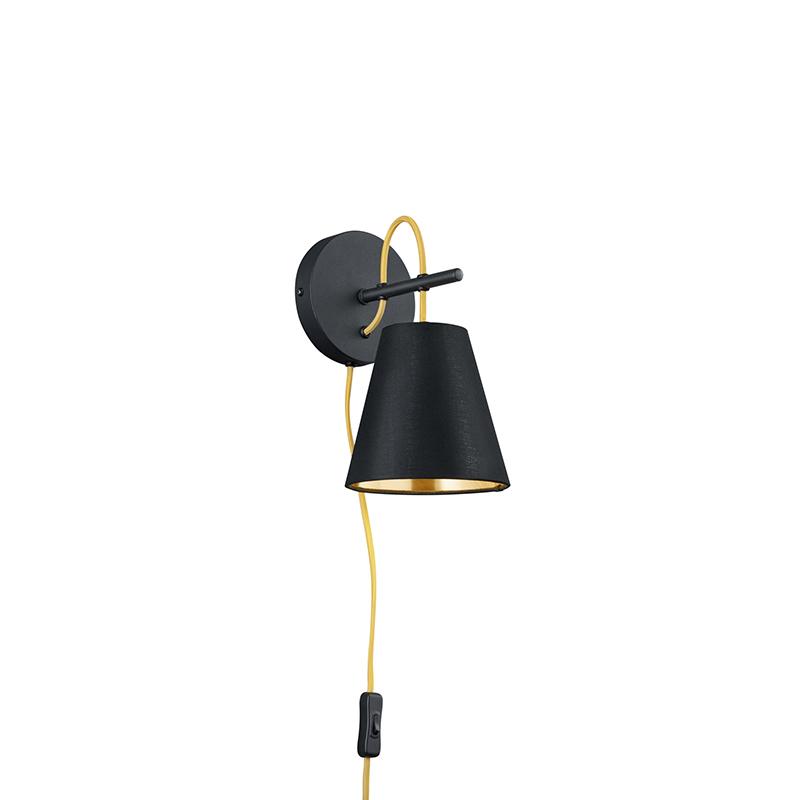 Moderne wandlamp zwart met goud - Andries