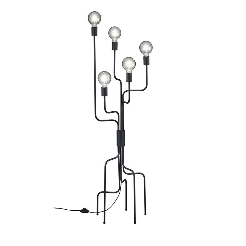 Moderne vloerlamp zwart 5-lichts- Tibo