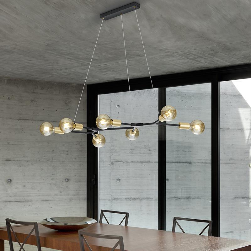 Design hanglamp zwart met goud 7-lichts - Dirk