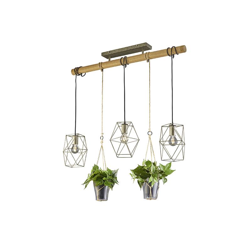 Landelijke hanglamp staal met hout 3-lichts - Sarah