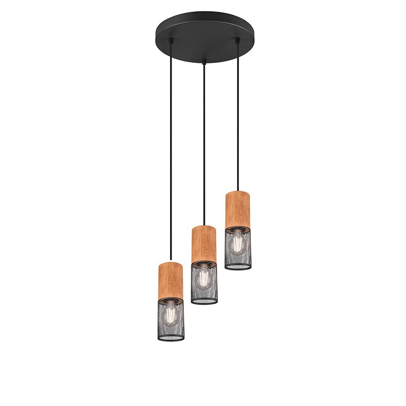 Industriële hanglamp zwart met hout 3-lichts - Manon