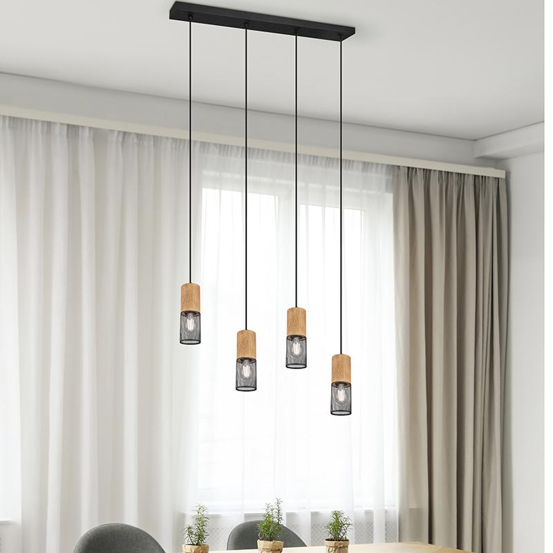 Industriële hanglamp zwart met hout 4-lichts - Manon