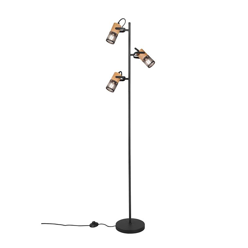 Industriële vloerlamp zwart met hout 3-lichts - Manon