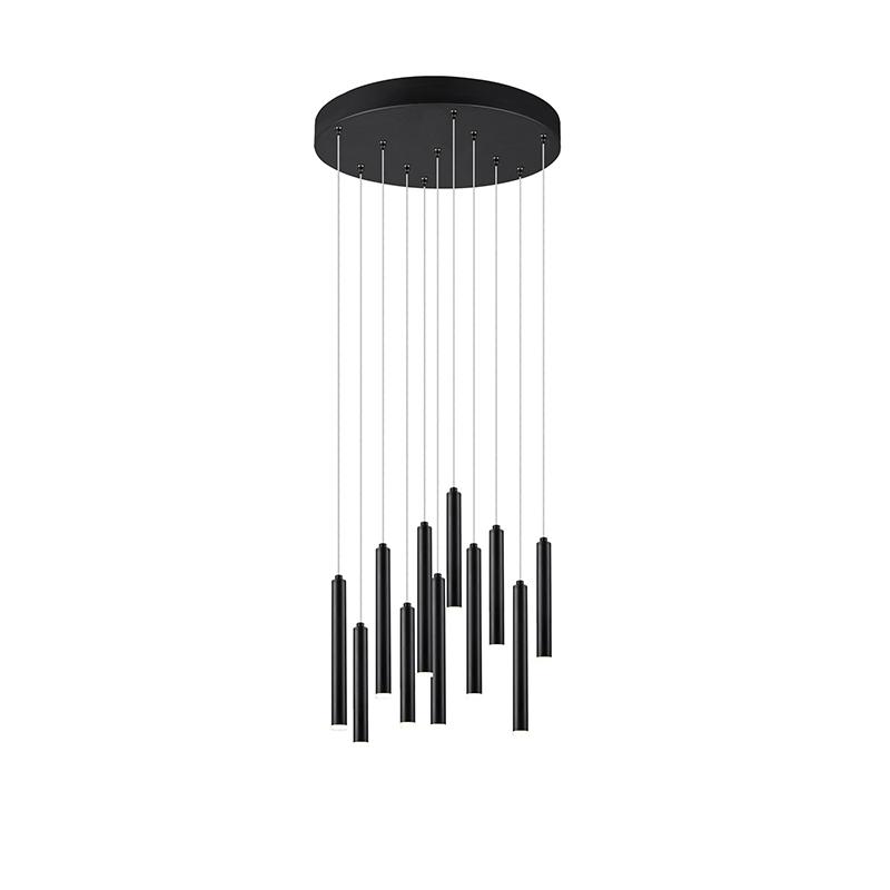 Hanglamp zwart incl. LED 3-staps dimbaar 11-lichts - Tubas