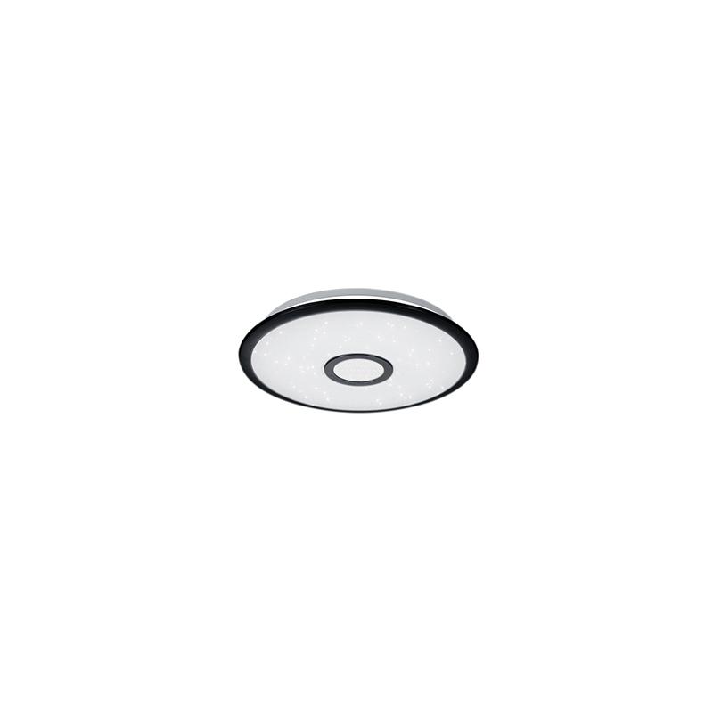 Lampa sufitowa czarna 42 cm w tym LED z pilotem - Bente