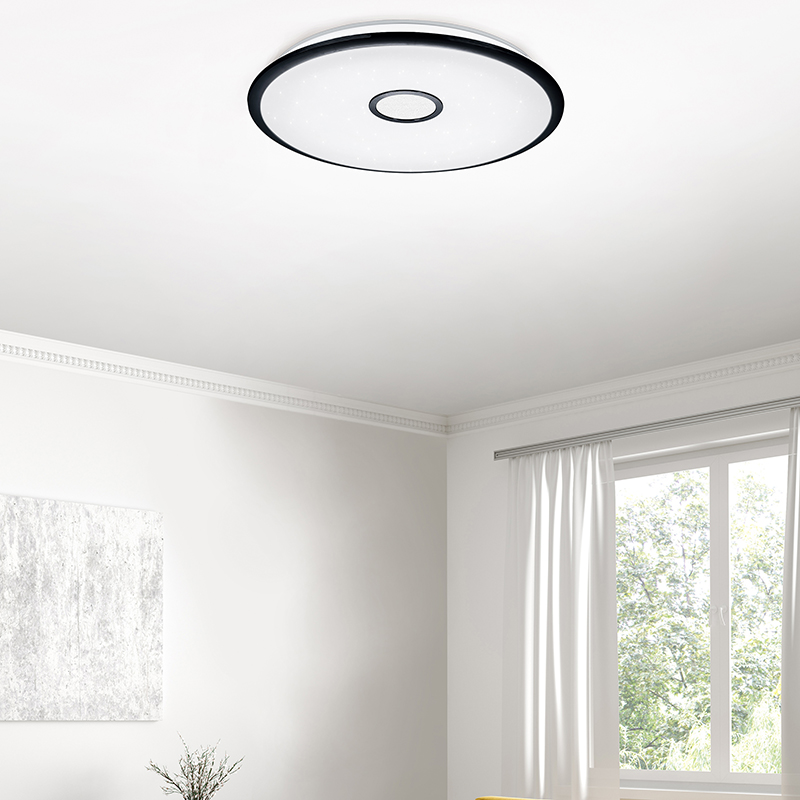 Plafondlamp zwart 65 cm Incl. LED met afstandsbediening - Bente