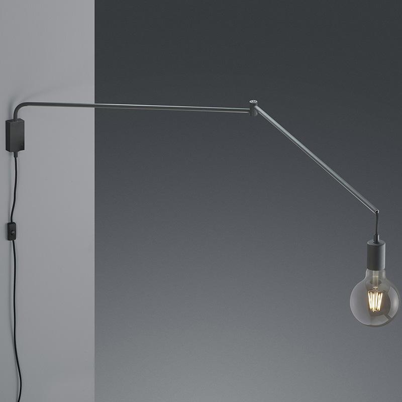 Wandlamp zwart verstelbaar met schakelaar - Cora