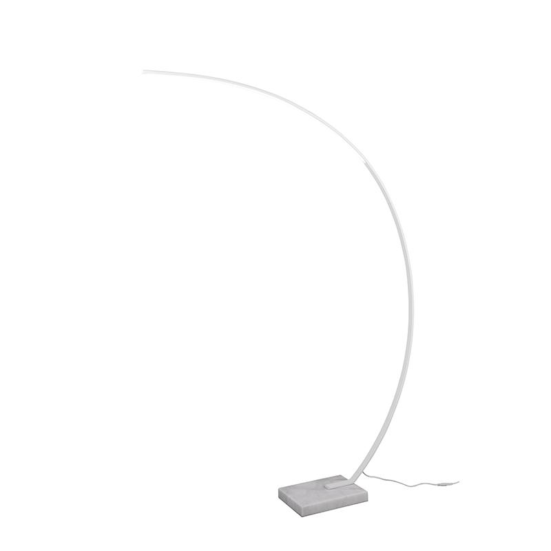 Designerska lampa podłogowa biała, w tym LED ściemniana - Dina