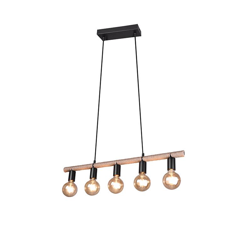 Landelijke hanglamp zwart met touw 5-lichts - Wilma