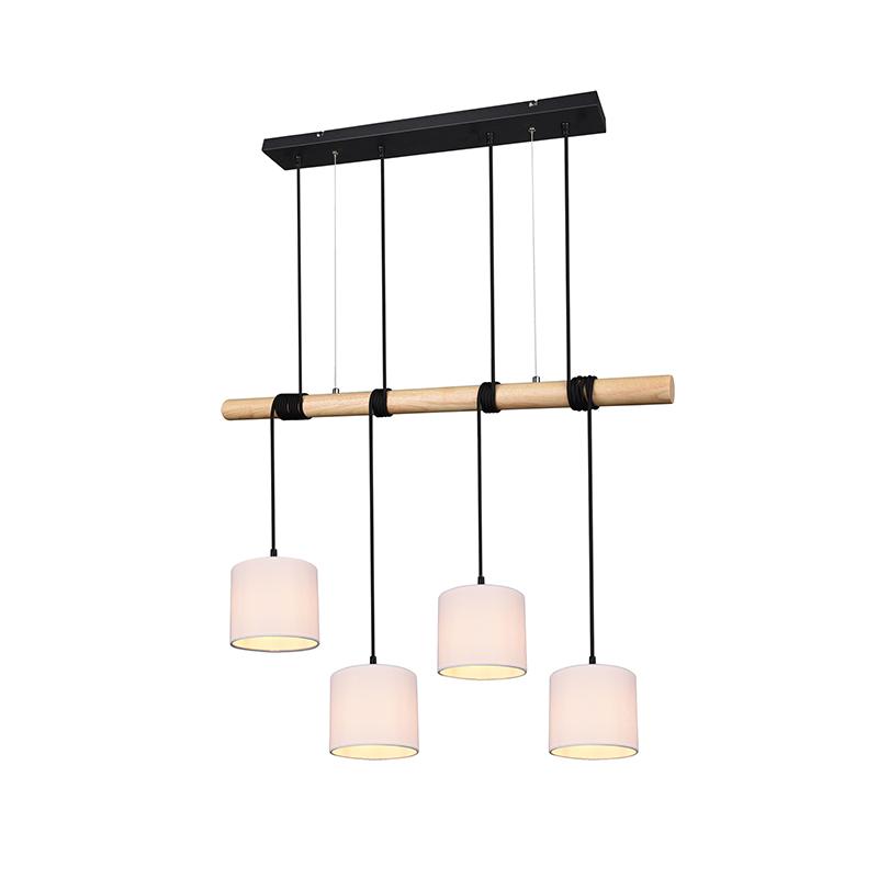 Landelijke hanglamp zwart met hout 4-lichts - Jake