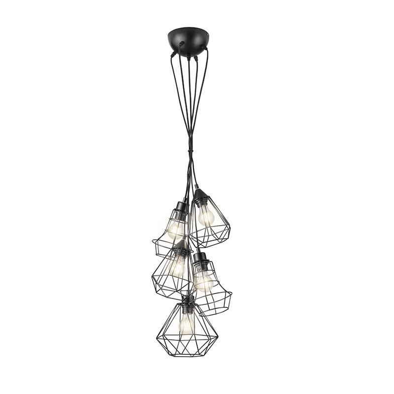 Moderne hanglamp zwart 5-lichts - Mieke