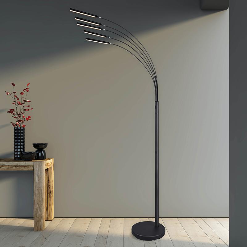 Vloerlamp staal incl. LED 3-staps dimbaar 5-lichts - Kasia