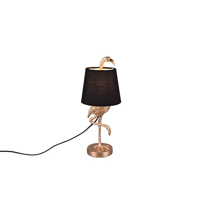 Landelijke tafellamp goud met zwart - Koen