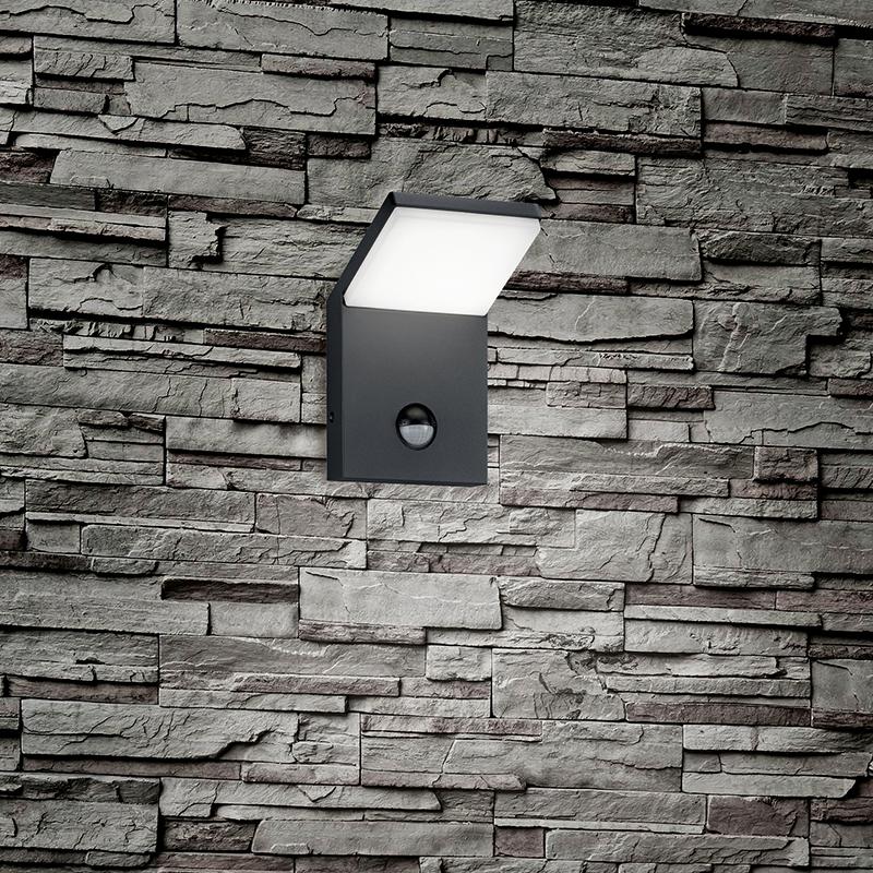 Kinkiet szary zawiera LED IP54 z czujnikiem ruchu - Marian