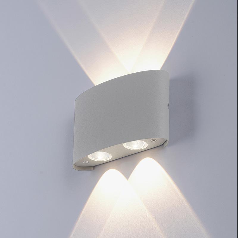 Moderne wandlamp grijs incl. LED IP54 - Wendy