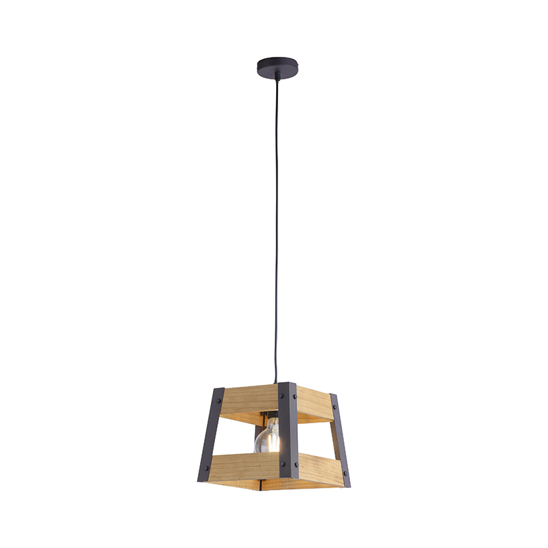 Przemysłowa lampa wisząca czarna z drewnem - Crate