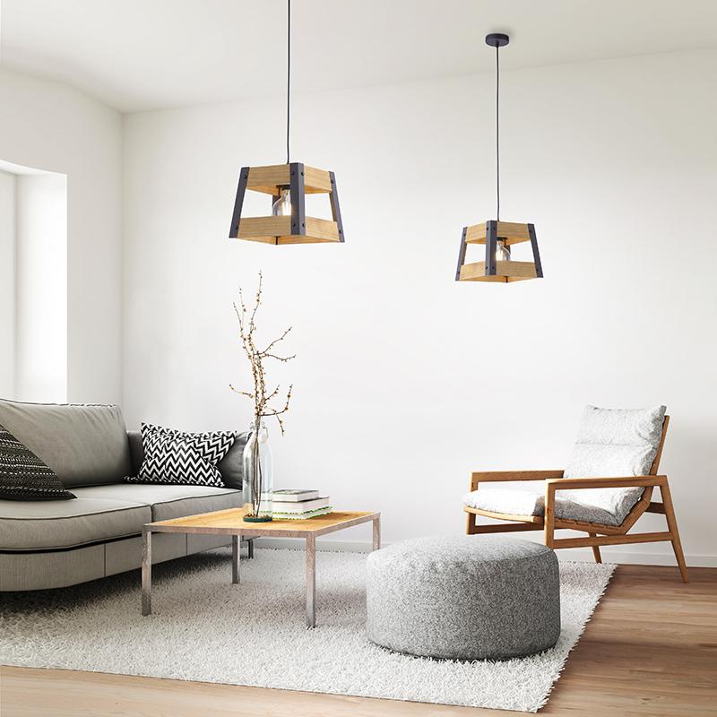 Industriële hanglamp zwart met hout - Krat