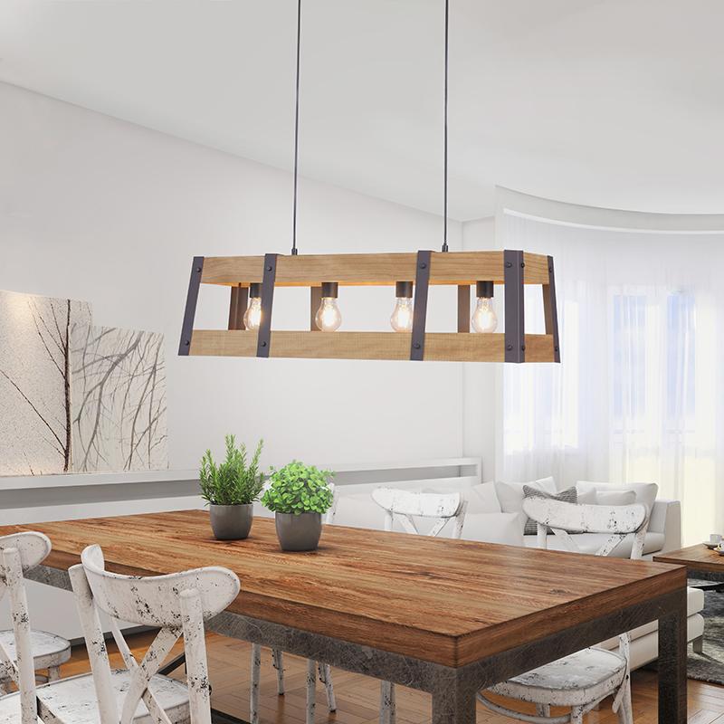 Industriële hanglamp zwart met hout 4-lichts - Krat
