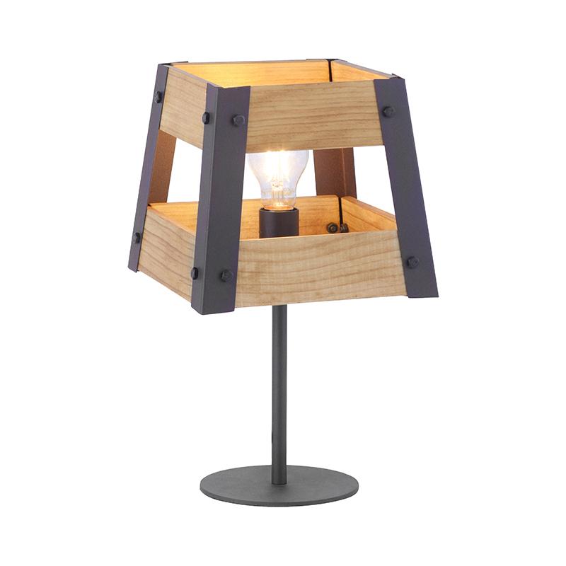 Industri�le tafellamp zwart met hout - Krat