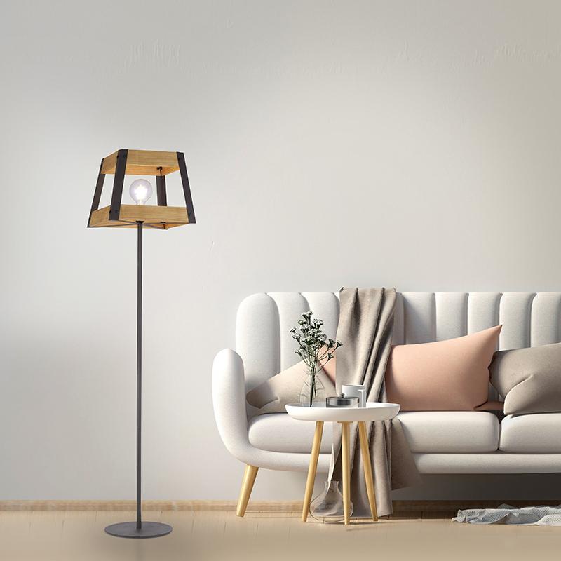Industriële vloerlamp zwart met hout - Krati
