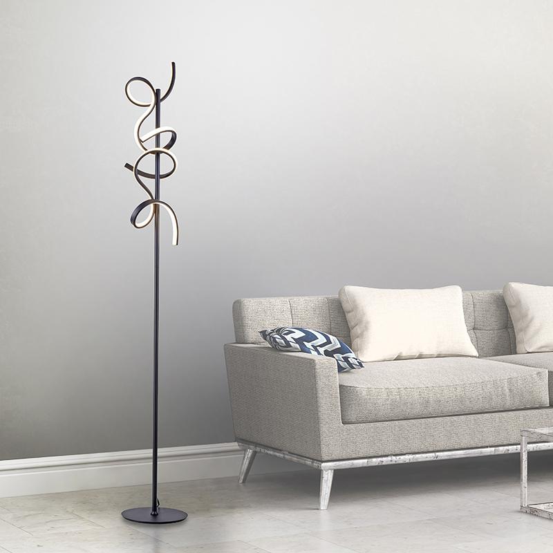Design vloerlamp zwart incl. LED en dimmer - Krisscross