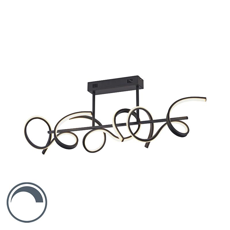 Design plafondlamp zwart incl. LED en dimmer - Krisscross