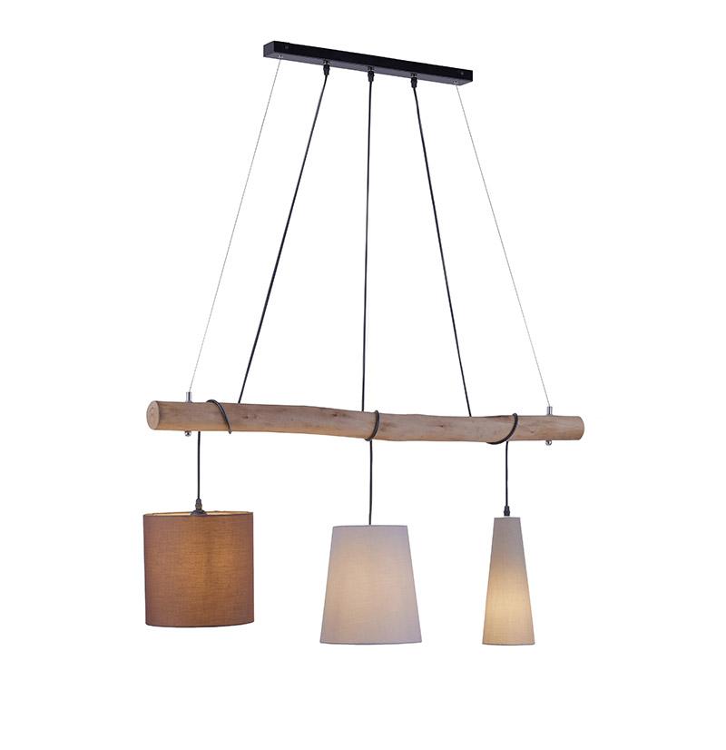 Landelijke hanglamp bruin met hout 3-lichts - Vinnie