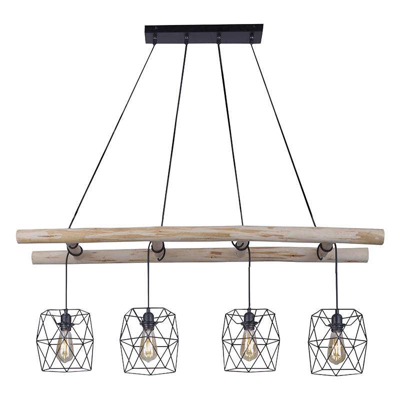 Przemysłowa lampa wisząca czarna z drewnem 4-punktowa - Mediena