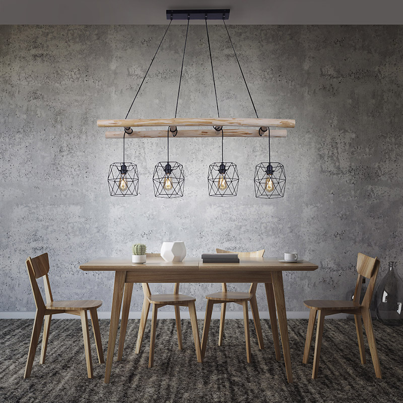 Industri�le hanglamp zwart met hout 4-lichts - Mediena