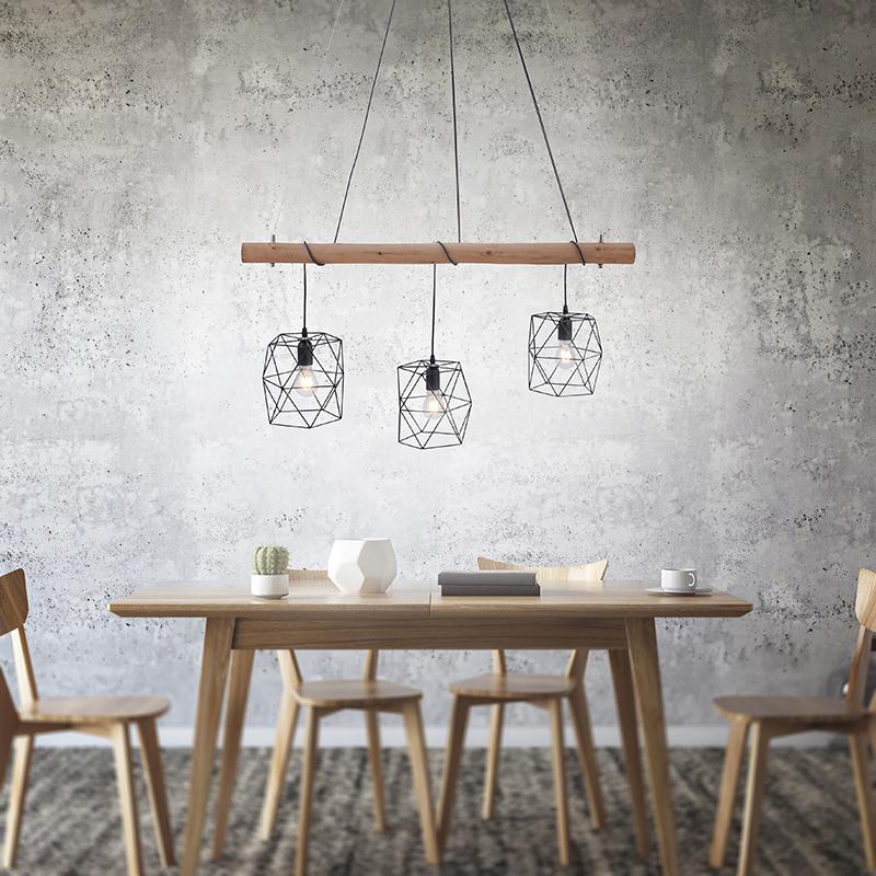 Industri�le hanglamp zwart met hout 3-lichts - Mediena