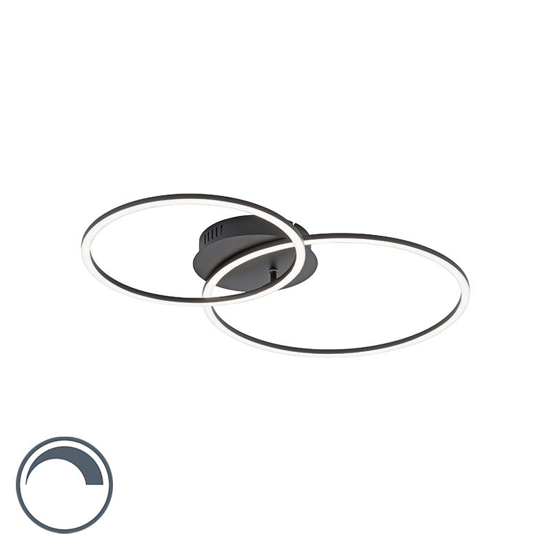 Designerska lampa sufitowa czarna z diodą LED i ściemniaczem 2-punktowa - Julka