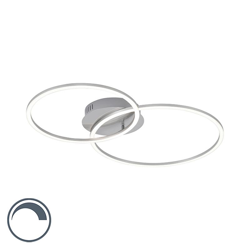 Designerska lampa sufitowa biała z diodą LED i ściemniaczem 2-punktowa - Julka