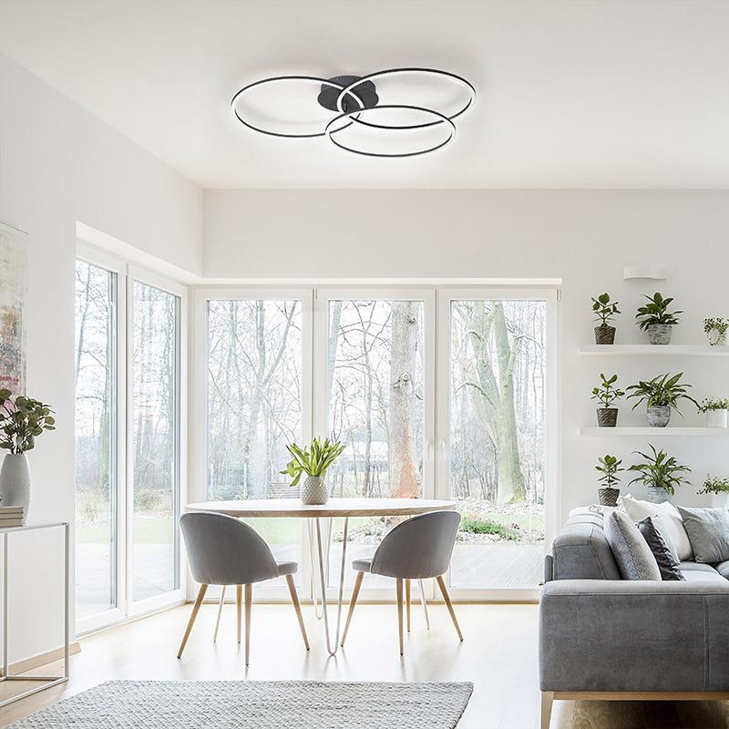 Plafondlamp zwart incl. LED 3-staps dimbaar 3-lichts - Julka