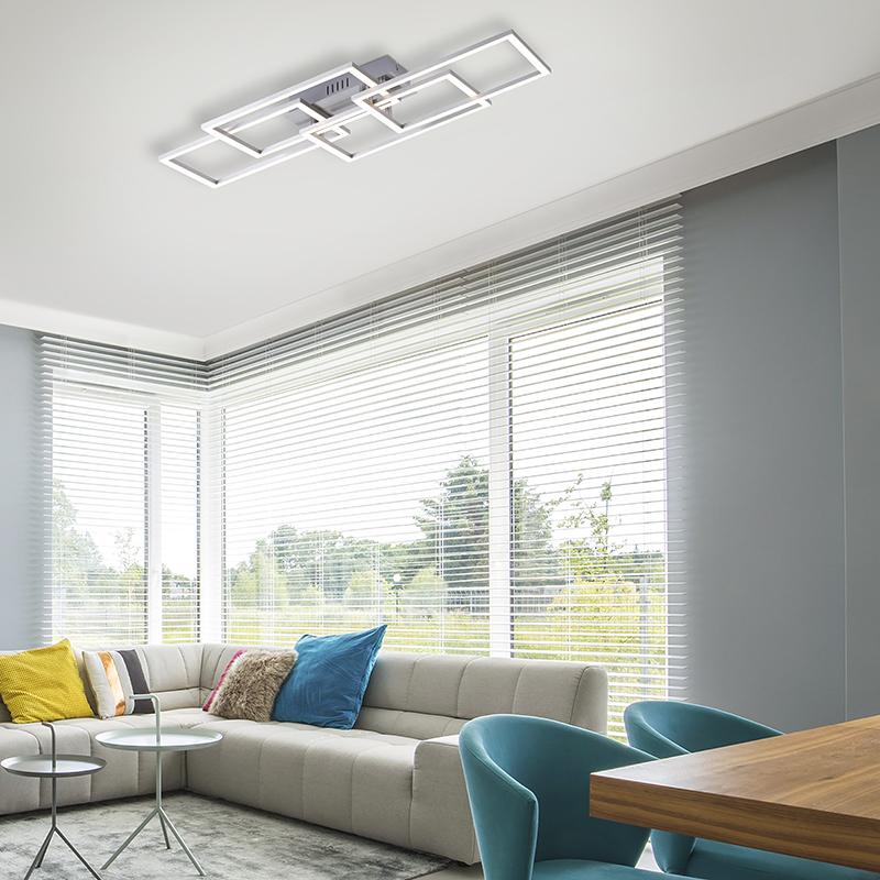 Plafondlamp staal 53 cm incl. LED en dimbaar 3-lichts - Amanda