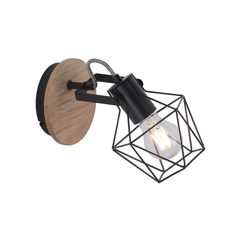 Priemyselná nástenná lampa čierna s drevom - Sven
