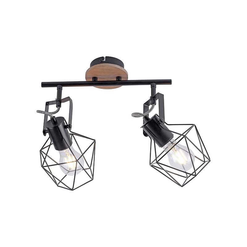Industriële spot zwart met hout 2-lichts - Sven