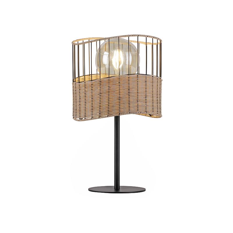 Landelijke tafellamp zwart met riet - Treccia