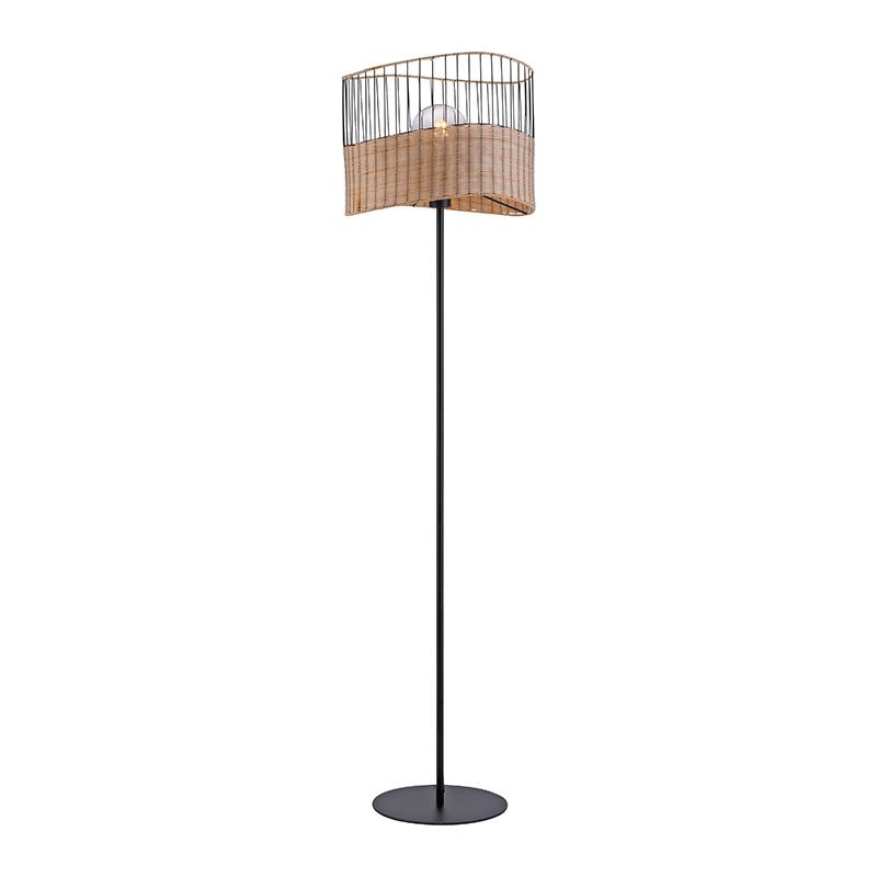 Landelijke vloerlamp zwart met riet - Treccia