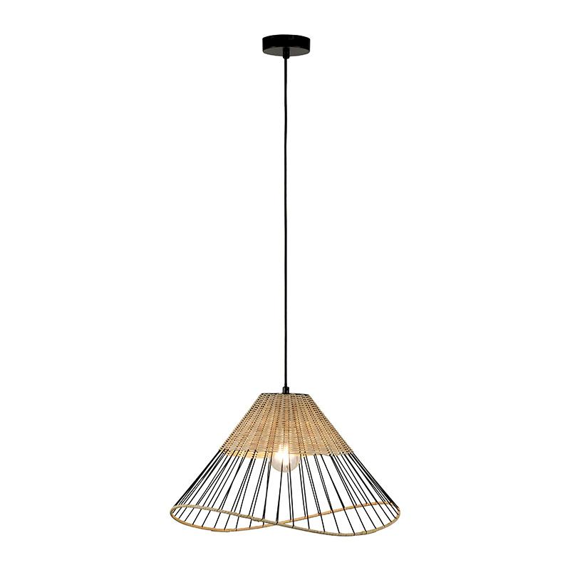 Landelijke hanglamp zwart met riet - Treccia