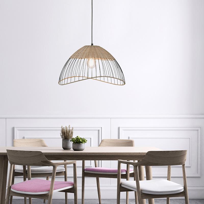 Landelijke hanglamp zwart met riet - Treccia Pua
