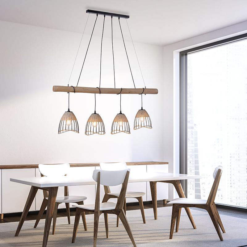 Landelijke hanglamp zwart met riet 4-lichts - Treccia Pua
